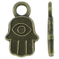 Zinklegering Hamsa Hangers, Zinc Alloy, Evil Hamsa Eye, antiek brons plated, Joodse Jewelry & Islam sieraden, nikkel, lood en cadmium vrij, 8x13x1.50mm, Gat:Ca 2.5mm, Ca 2000pC's/KG, Verkocht door KG