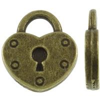 Sinkkiseos Lock riipukset, Lukko, antiikki pronssi väri päällystetty, nikkeli, lyijy ja kadmium vapaa, 13.50x16x2mm, Reikä:N. 4mm, N. 500PC/KG, Myymät KG