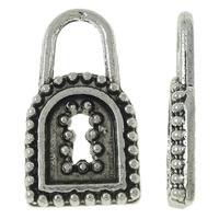 Sinkkiseos Lock riipukset, Lukko, antiikki hopea päällystetty, nikkeli, lyijy ja kadmium vapaa, 8x14x1mm, Reikä:N. 3x4mm, N. 2000PC/KG, Myymät KG