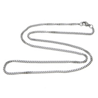Stainless Steel Chain Necklace, box chain, original color, 1.50x1.20x0.20mm, Length:Approx 18 Inch, 50Strands/Lot, Sold By Lot