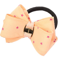 Ponytail Holder, Polyester, with Grosgrain Ribbon & Rubber & Copper Coated Plastic, Bowknot, with star pattern, apricot, 80mm, 30PCs/Lot, Sold By Lot