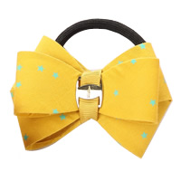 Ponytail Holder, Polyester, with Grosgrain Ribbon & Rubber & Copper Coated Plastic, Bowknot, with star pattern, yellow, 80mm, 30PCs/Lot, Sold By Lot