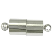 Brass Magnetic Clasp, Column, platinum color plated, single-strand, nickel, lead & cadmium free, 12.50x6mm, Hole:Approx 2mm, 100PCs/Bag, Sold By Bag