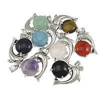 Gemstone Pendants Jewelry, Zinc Alloy, with Mixed Material, platinum color plated, mixed, nickel, lead & cadmium free, 23x30x7mm, Hole:Approx 4x7mm, 20PCs/Lot, Sold By Lot
