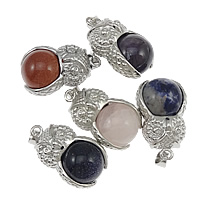 Gemstone Pendants Jewelry, Zinc Alloy, with Gemstone, platinum color plated, mixed, nickel, lead & cadmium free, 19x32x16mm, Hole:Approx 4x7mm, 20PCs/Lot, Sold By Lot