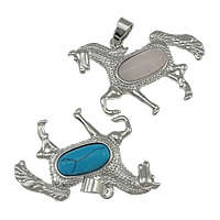 Gemstone Pendants Jewelry, Zinc Alloy, with Gemstone, platinum color plated, mixed, nickel, lead & cadmium free, 42x31x6mm, Hole:Approx 4x7mm, 20PCs/Lot, Sold By Lot