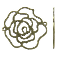 Flower Zinc Alloy Connector antique bronze color plated 1/1 loop nickel lead   cadmium free 37x37x1mm Hole:Approx 1.5mm Approx 340PCs/KG