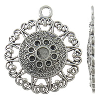 Zinc Alloy Pendant Rhinestone Setting Flower antique silver color plated nickel lead   cadmium free 39x46x3mm Hole:Approx 4mm Approx 100PCs/KG