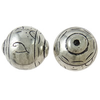 Copper Coated Plastic Beads, Round, antique silver color plated, lead & cadmium free, 33x34mm, Hole:Approx 4mm, 10PCs/Bag, Sold By Bag