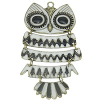 Zinc Alloy Animal Pendants, Owl, antique bronze color plated, enamel, lead & cadmium free, 98x59x5mm, Hole:Approx 4mm, Sold By PC