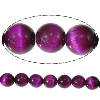 Natural Tiger Eye Beads, Round, purple, 8mm, Hole:Approx 1mm, Length:Approx 15 Inch, 5Strands/Lot, Approx 46PCs/Strand, Sold By Lot