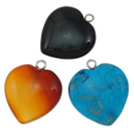 Mixed Gemstone Pendants, natural, 20x23x7mm, Hole:Approx 2mm, 20PCs/Lot, Sold By Lot