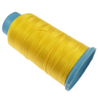 Nylon Thread, with plastic spool, without elastic, 9-yarn, golden yellow, 0.70mm, Length:310 m, 10PCs/Lot, Sold By Lot