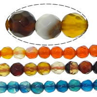 Agate Beads, Round, faceted, mixed colors, 3mm, Hole:Approx 0.5mm, Length:Approx 15 Inch, 20Strands/Lot, 121PCs/Strand, Sold By Lot