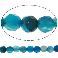 Natural Blue Agate Beads, Round, faceted, 4mm, Hole:Approx 0.5mm, Length:Approx 14.5 Inch, 20Strands/Lot, 92PCs/Strand, Sold By Lot