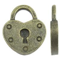 Sinkkiseos Lock riipukset, Lukko, antiikki pronssi väri päällystetty, nikkeli, lyijy ja kadmium vapaa, 13x15x2mm, Reikä:N. 5x4mm, N. 585PC/KG, Myymät KG
