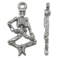 Zinc Alloy Skull Pendants, Skeleton, high quality platinum plated, lead & cadmium free, 14x16x3mm, Hole:Approx 1mm, 20PCs/Bag, Sold By Bag