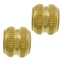 Roestvrijstaal Grote Gat Kralen, 304 roestvrij staal, gold plated, groot gat, 10x12mm, Gat:Ca 6mm, 100pC's/Lot, Verkocht door Lot