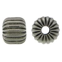 Rustfrit stål Bølgepap Perler, 304 roestvrij staal, Drum, lood zwarte kleur vergulde, gegolfd, 7x8mm, Gat:Ca 2.5mm, 100pC's/Lot, Verkocht door Lot