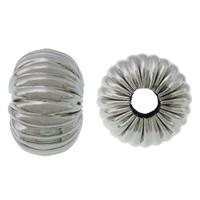 Rustfrit stål Bølgepap Perler, 304 roestvrij staal, Rondelle, gegolfd, oorspronkelijke kleur, 8x12mm, Gat:Ca 4mm, 100pC's/Lot, Verkocht door Lot