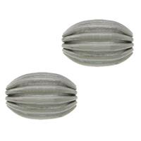 Rustfrit stål Bølgepap Perler, 304 roestvrij staal, Ovaal, gegolfd, oorspronkelijke kleur, 7x5mm, Gat:Ca 1mm, 100pC's/Lot, Verkocht door Lot