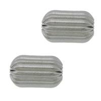 Rustfrit stål Bølgepap Perler, 304 roestvrij staal, Ovaal, gegolfd, oorspronkelijke kleur, 7x5mm, Gat:Ca 1.8mm, 100pC's/Lot, Verkocht door Lot