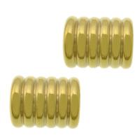 Elementy bransolety ze stali nierdzewnej, Stal nierdzewna 304, Rurka, Platerowane w kolorze złota, 11x9mm, otwór:około 6mm, 100komputery/wiele, sprzedane przez wiele