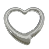 Roestvrij staal ring connectors, 304 roestvrij staal, Hart, oorspronkelijke kleur, 24x24x5mm, Gat:Ca 18x18mm, 50pC's/Lot, Verkocht door Lot