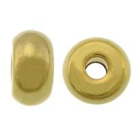 Roestvrijstaal Grote Gat Kralen, 304 roestvrij staal, Rondelle, gold plated, groot gat, 5x10mm, Gat:Ca 3mm, 100pC's/Lot, Verkocht door Lot
