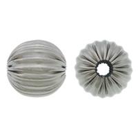 Rustfrit stål Bølgepap Perler, 304 roestvrij staal, Ronde, gegolfd, oorspronkelijke kleur, 12mm, Gat:Ca 2.5mm, 100pC's/Lot, Verkocht door Lot