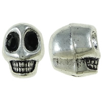 Zinc Alloy Jewelry Beads Skull antique silver color plated nickel lead   cadmium free 9.50x12x11mm Hole:Approx 2.5mm Approx 260PCs/KG