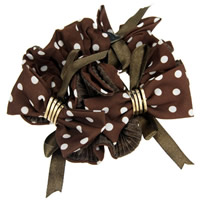 Hair Elastic, Velveteen, with Satin Ribbon & Zinc Alloy, Flower, with round spot pattern, coffee color, 140mm, 20PCs/Lot, Sold By Lot