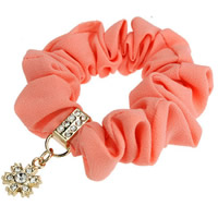 Hair Elastic, Velveteen, with Zinc Alloy, with rhinestone, lotus red, 80mm, 20PCs/Lot, Sold By Lot