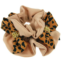 Hair Elastic, Velveteen, with iron chain, Bowknot, leopard pattern, 110mm, 20PCs/Lot, Sold By Lot