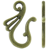 Zinc Alloy Clasp Hook, antique bronze color plated, nickel, lead & cadmium free, 16x25x2mm, Hole:Approx 2mm, Approx 550PCs/KG, Sold By KG