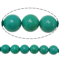 Turquoise Beads, Round, 12mm, Hole:Approx 1.5mm, Length:Approx 16 Inch, Approx 15Strands/KG, Approx 33PCs/Strand, Sold By KG