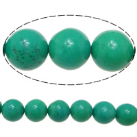 Turquoise Beads, Round, green, 14mm, Hole:Approx 1.5mm, Length:Approx 16 Inch, Approx 11Strands/KG, Approx 29PCs/Strand, Sold By KG