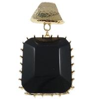 Zinklegering Sjaal Hangers, Zinc Alloy, met Hars, Rechthoek, gold plated, lood en cadmium vrij, 51x97x14mm, Gat:Ca 17mm, 10pC's/Bag, Verkocht door Bag
