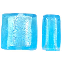 Silver Foil Lampwork Beads, Square, handmade, blue, 10x5.5mm, Hole:Approx 1mm, 100PCs/Bag, Sold By Bag