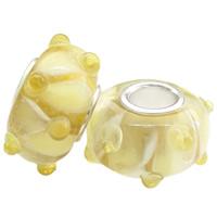 Szklane koraliki European, Lampwork, Okrąg, Ręcznie robione, mosiężny pojedynczy środek bez gwintu & guzkowany, żółty, bez zawartości niklu, ołowiu i kadmu, 15x7mm, otwór:około 5mm, 100komputery/torba, sprzedane przez torba