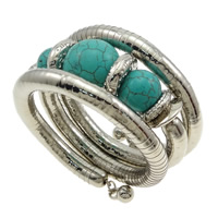 Zinc Alloy Bangle with Natural Turquoise platinum color plated nickel lead   cadmium free 16mm 19mm Inner Diameter:Approx 55mm Length:Approx 20 Inch 10PCs/Lot