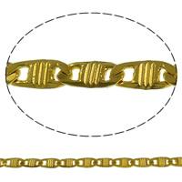 Mosiężny łańcuszek Valentino, Mosiądz, Platerowane w kolorze złota, Valentino łańcucha, bez zawartości niklu, ołowiu i kadmu, 8x3.50x0.80mm, długość:około 100 m