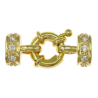 Brass Spring Ring Clasp, 18K gold plated, with end cap & with cubic zirconia, nickel, lead & cadmium free, 24x10x7mm, 4x7mm, 5PCs/Bag, Sold By Bag