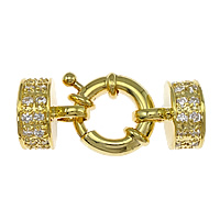 Brass Spring Ring Clasp 18K gold plated with end cap   with cubic zirconia nickel lead   cadmium free 33X13mm 9mm Hole:Approx 2mm 3PCs/Bag