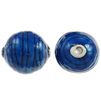 Copper Coated Plastic Beads, Oval, antique silver color plated, enamel, blue, lead & cadmium free, 38x34mm, Hole:Approx 5mm, 10PCs/Bag, Sold By Bag