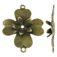Flower Zinc Alloy Connector antique bronze color plated 1/1 loop nickel lead   cadmium free 31x38x6mm Hole:Approx 2mm Approx 165PCs/KG