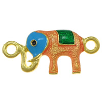 Animal Zinc Alloy Connector, Elephant, gold color plated, enamel & 1/1 loop, nickel, lead & cadmium free, 32x15x3mm, Hole:Approx 3mm, 100PCs/Lot, Sold By Lot