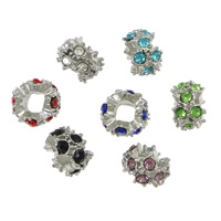 Zinc Alloy Spacer Beads Rondelle platinum color plated with rhinestone mixed colors nickel lead   cadmium free 8x12x12mm Hole:Approx 5mm 200PCs/Lot