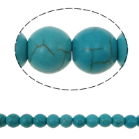 Turquoise Beads, Round, blue, 8mm, Hole:Approx 1mm, Length:Approx 14.5 Inch, 10Strands/Lot, 50PCs/Strand, Sold By Lot