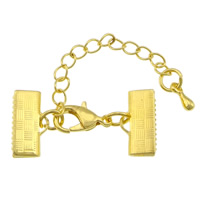 Brass Lobster Claw Cord Clasp, with 2lnch extender chain, gold color plated, nickel, lead & cadmium free, 30x10mm, 200PCs/Lot, Sold By Lot